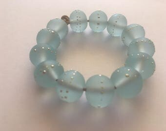 13 Handmade Glass Beads in Matte Translucent Sea Blue and Fine Silver by Sarah Klopping
