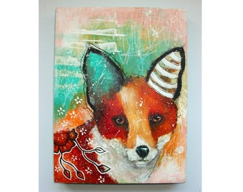 folk art Original fox painting mixed media art painting on wood canvas 8x6 inches - The Wanderer