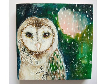 Original Owl painting mixed media art painting on wood canvas 6x6 inches - The return of light