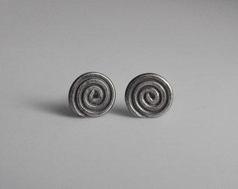 Small Earrings Sterling Silver Earrings Spiral Earrings Stud Post Earrings Oxidized Oxidised Swirl Handcrafted Handmade Sweet Cute Silver