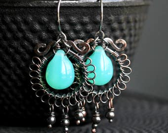 Aqua green dangle earrings, oxidized copper, chandelier earrings, drop, Czech glass, wire wrapped, Mimi Michele Jewelry