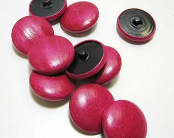 45 Line Cowhide Covered Buttons in Fushia 10PC. Fushia pink fuschia