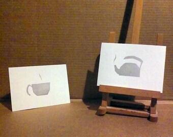 "PROTOTYPE - Silver Tea Set 5""x7"" hand-pulled silkscreen prints"