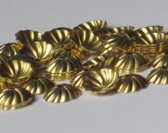 Raw Brass Fluted and Scalloped Bead Cap  7.5mm  (Qty 50)    75-5-117