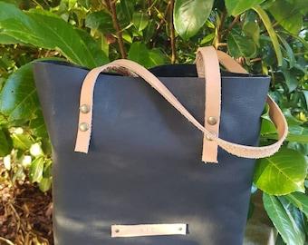 Classic Black Leather Tote bag | Handmade Leather bag |Everyday Bag|Laptop Bag | Leather Shoulder bag | Leather Shopper bag |Gift for her