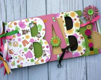 Baby scrapbook album, premade scrapbook, word chipboard album, baby shower gift, newborn, baby girl, pink, green -BG19