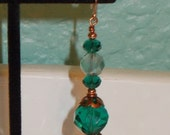 Special Listing For Judy***Teal Glass And Copper Earrings - Irish Eyes 2 - Sparkling Shimmery Handmade Fashion Earrings Warm Copper Under 20