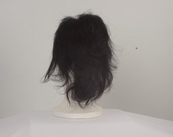 black human hair wig extension fall hairpiece 60s 70s vintage brunette wig Halloween costume cosplay fantasy men women