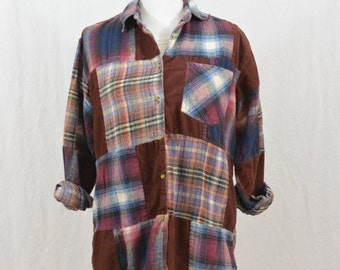 Vintage Mixed Print Flannel, Size XS-Small, Grunge, 90's Clothing, Tumblr, Rad, 90's Flannel, My So Called Life