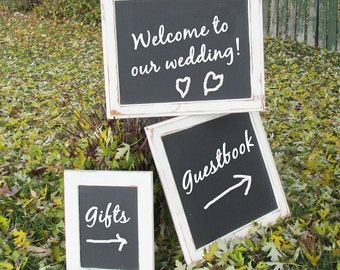 Two Shabby White , Wood Framed White , Blank Chalkboards - Blackboards - Wedding Signs - Store Specials Sign