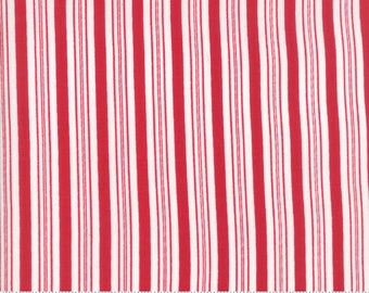 Moda Sugar Plum Christmas Fabric - Red Christmas Fabric - Red & White Stripe Quilting Fabric By The 1/2 Yard