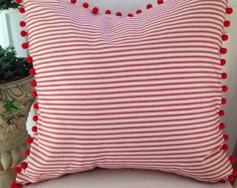 Ticking Pillow Cover Red Ticking Pillow Cover Throw Pillow PomPom Pillow