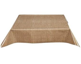 Square Faux Bois Elm Oilcloth Tablecloth with Simple Hem