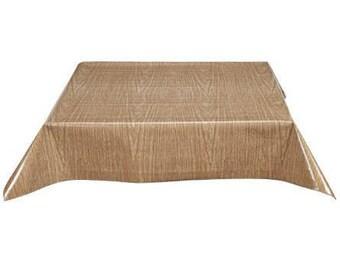 Rectangle Faux Bois Elm Oilcloth Tablecloth with Simple Hem