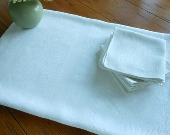 1940s Linen Damask Tablecloth And 14 Napkins Free Shipping