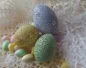 New Enhanced Colors! Trio of Hand Carved Victorian Lace Eggs: Duck, and Chicken