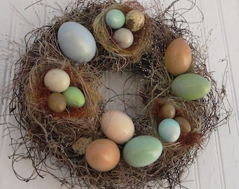 10 Inch Real Egg Sampler Wreath For Your Table Or Wall: Enhanced Shades of Blue, Brown, Green
