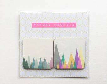 Square Wood Mountain Fridge Magnets - Mountain Peaks