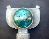 Vintage Aluminum Sprinkler Head Green Metallic MADE IN USA nozzle sprayer