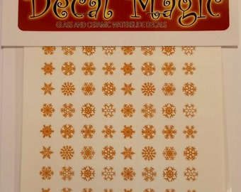Mini 22k Gold Decals Snowflakes (64) for glass fusing and kiln work