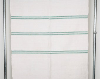 Rustic Linen Table Cloth Green Stripe. Vintage Hungarian Linen.  Medium. Excellent Condition