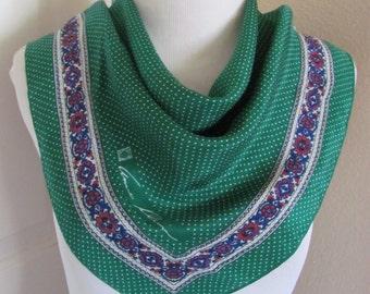 "Anne Klein // Beautiful Green Soft Silk Scarf // 20"" Inch 50cm Square"