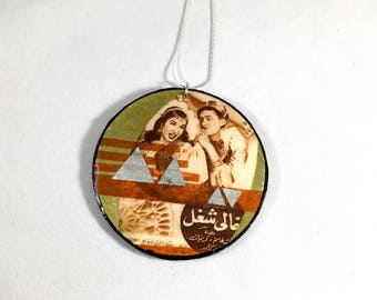 Large, Modern & Bold Vintage Egyptian Movie Poster Inspired Mixed Media Upcycled Necklace