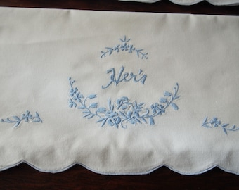 Pair Pillowcases Vintage Cotton His Hers Blue Embroidery