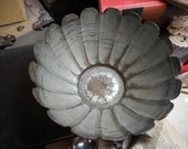 Vintage Fluted Metal Blossom trinket bowl. Made in United arab republic Silverplate maybe