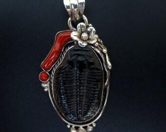 OOAK Sterling Silver Trilobite and Red Coral Pendant - Handmade Fossil Pendant - Trilobite Statement Pendant - Black Fossil Boho Pendant