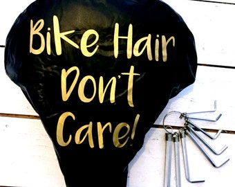 Bike Hair Don't Care | Waterproof Bike Seat Cover | Bike Saddle Cover | Bike Accessory | Cyclist Gifts