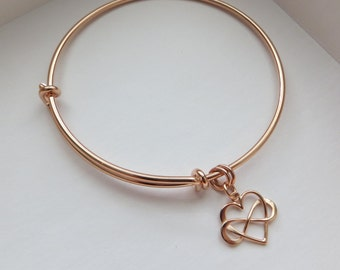 Maid of honor gift, rose gold infinity bangle, heart bracelet, wedding day, matron of honor, bridesmaid