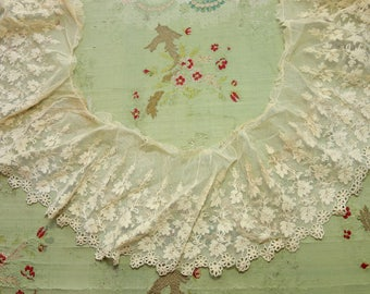 """65"""" sweep Antique cotton lace intricate tambour tulle 5"""" wide dainty airy ecru piece flapper lingerie tambour french trim"""