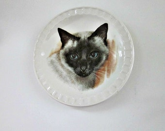 """Vintage 1950s  Weatherby Hanley England, Royal Falcon Ware  """"Siamese Cat"""" Dish or Pin Tray - Cottage Chic - Cat Dish - Collectible"""