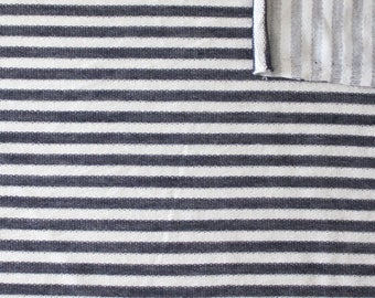 Navy Blue and Cream Striped Rayon Spandex Micro French Terry Knit Fabric, 1 Yard