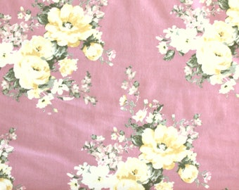Blush Rose Yellow and Green Floral Brushed Poly Spandex Knit, 1 yard