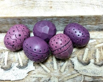 Purple Bead set for jewelry making, Polymer Clay Beads, Artisan, Organic, Rustic Clay Beads, Carved, Hand Textured Lilac Beads