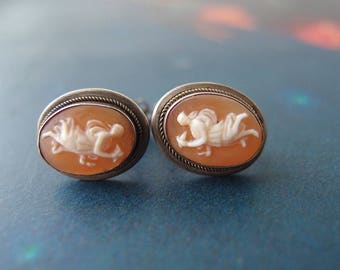 antique Cameo earrings Aurora Goddess of the Dawn 800 silver screw back non pierced hand carved shell oval bezels
