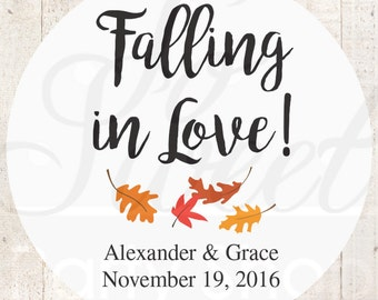 Falling In Love Wedding Favor Stickers, Bridal Shower Favors, Bachelorette Party Favors, Thank You Labels, Gift Labels, Leaves - Set of 24