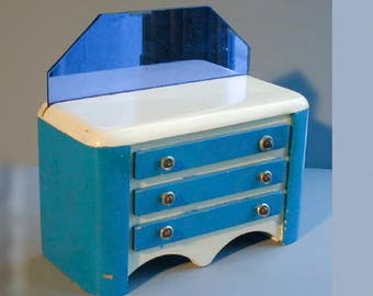 Rare Bank Painted Wooden Bureau w Blue Glass Mirror Vintage Deco Doll Furniture