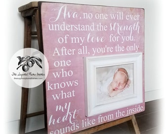 Baptism Gift, Personalized Baby Gift, Baptism Quote Frame, No One Will Ever Understand the Strength of My Love, 16x16 The Sugared Plums