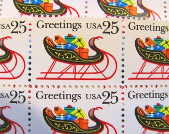 Sleigh Full of Presents 20 UNused Vintage Postage Stamps 25c Christmas XMas Seasons Greetings Happy Holidays Save the Date Gifts Philately