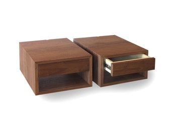 "13"" width, 2 floating bedside tables, Walnut with Walnut drawer"