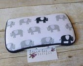 Elephants in Gray and Navy Blue Travel Baby Wipe Case, Personalized Diaper Wipe Case, Wet Wipes Case, Wipe Holder, Diaper Bag Wipe Clutch