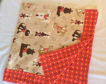 Polka Dots and Puppies Flannel Baby Blanket