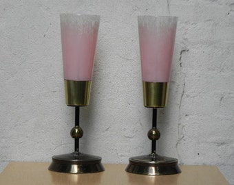 Pair Modern Vintage Glass and Brass Pink Glass Torchier Lamps