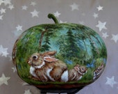 """Reserved for Isabelle of Hailey, Bunny Clan, hand painted gourd with cottontails, 7"""" tall x 8 1/2"""" diameter"""