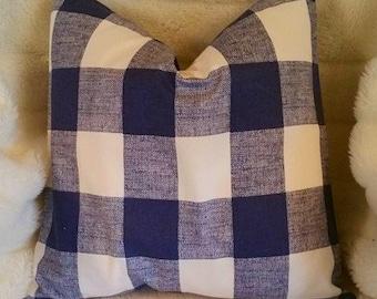 NEW BLUE Check Pillow, Toss Pillow, Blue Buffalo Check Pillow Cover, Euro Pillow, Sham, Lumbar,Throw Pillow,Bedding,Various Sizes
