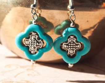 Turquoise quatrefoil and silver bead earrings