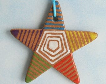 Small Red Clay Star, Handmade Ceramic Star, Pottery Star Ornament, Tree Ornament, Handmade Gift, Colorful Clay Christmas Star, Star Gift Tag